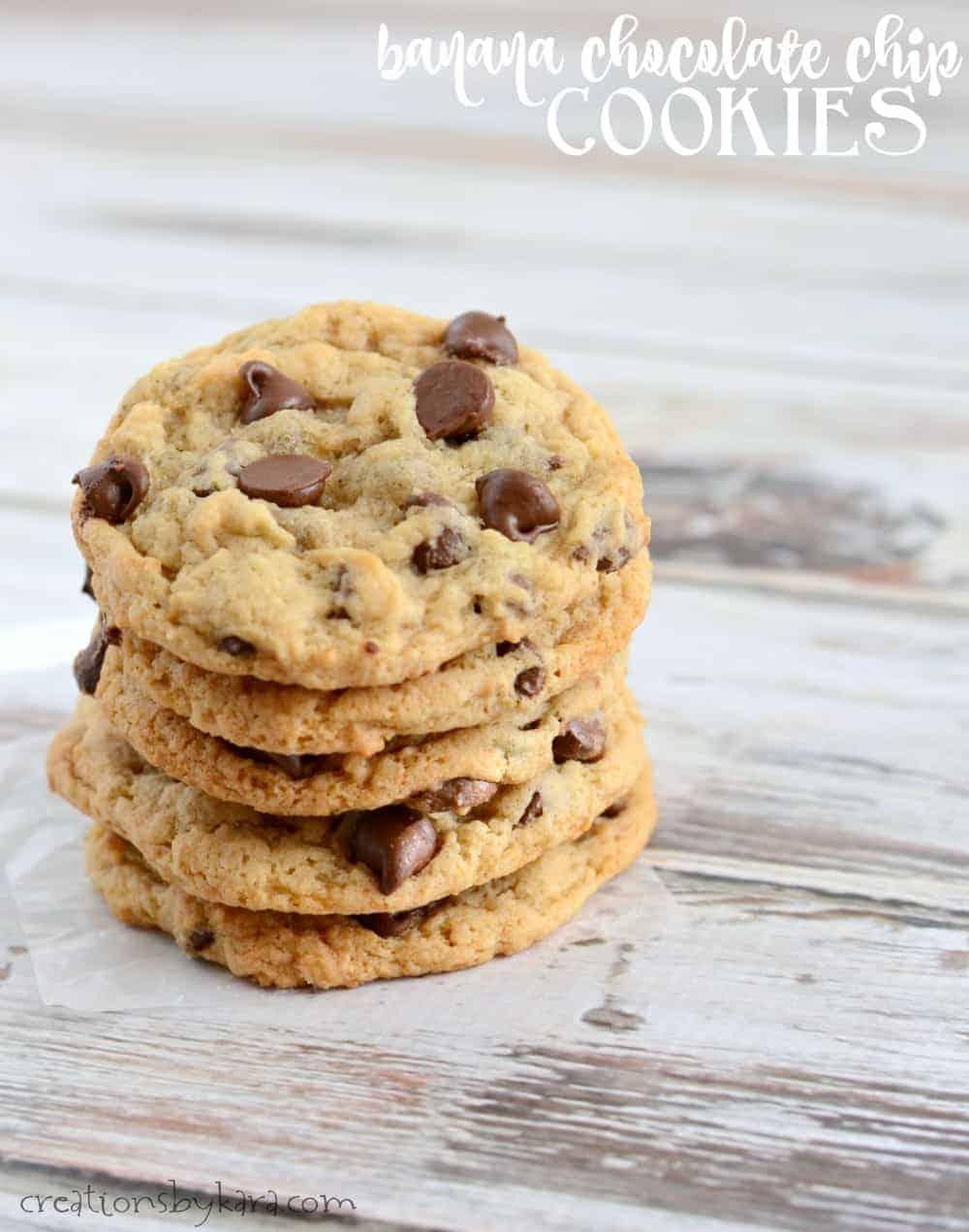 Banana Chocolate Chip Cookies - Creations by Kara