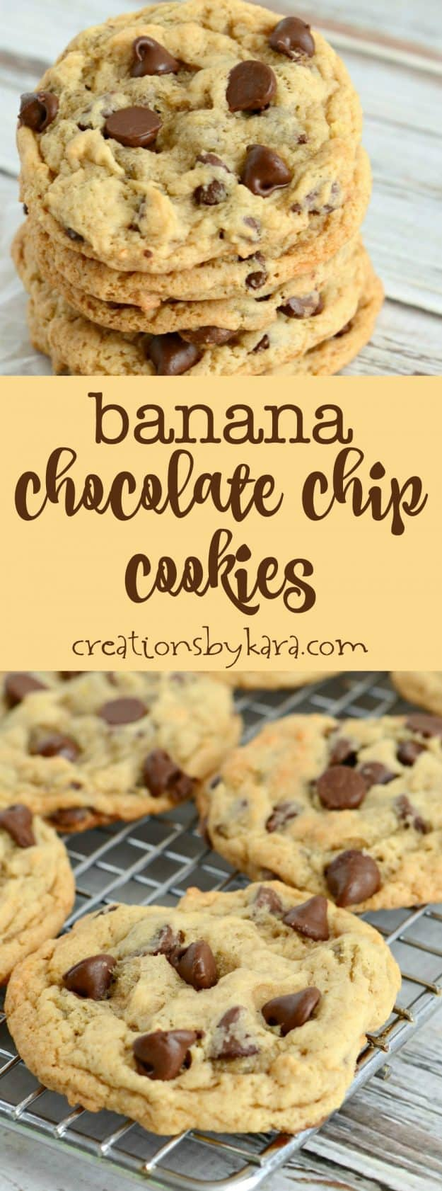 Recipe for the best chewy banana chocolate chip cookies. They are egg-free, and so yummy! Everyone loved these banana cookies!