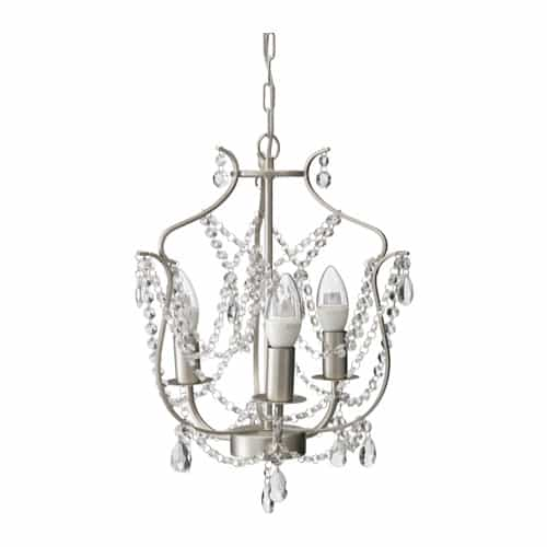 Chalk painted chandelier from Ikea