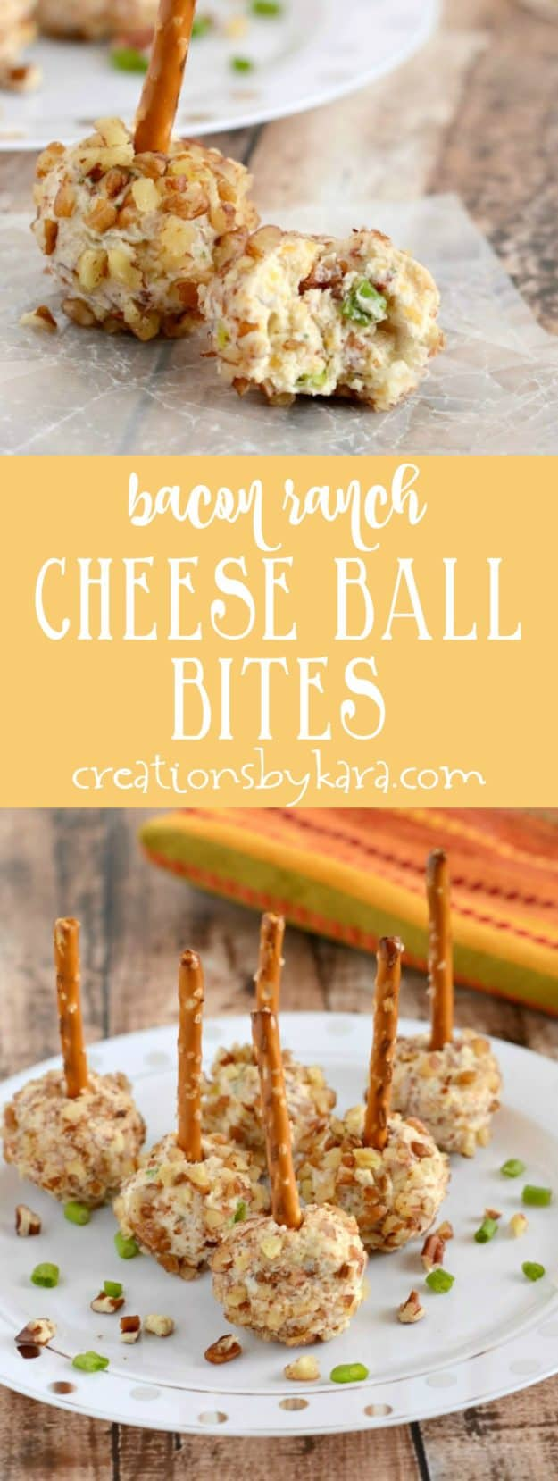 Serve these mini bacon ranch cheese ball bites and get rave reviews. Loaded with bacon and ranch, they are always a crowd pleasing cheese ball recipe. A great game day appetizer.