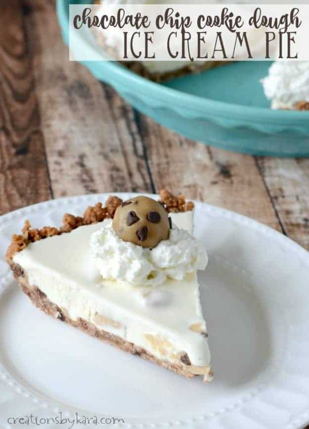 Cookie Dough Ice Cream Pie - a creamy frozen pie with chunks of chocolate chip cookie dough. Perfect summer dessert!