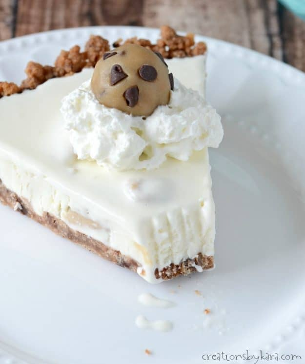 Frozen cookie dough ice cream pie. A cookie dough lovers dream.