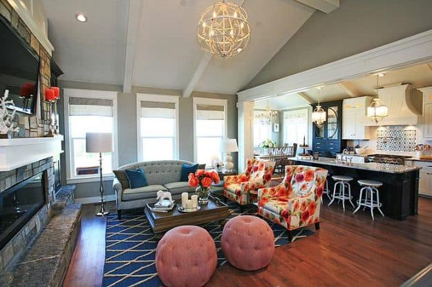 navy and coral family room and kitchen