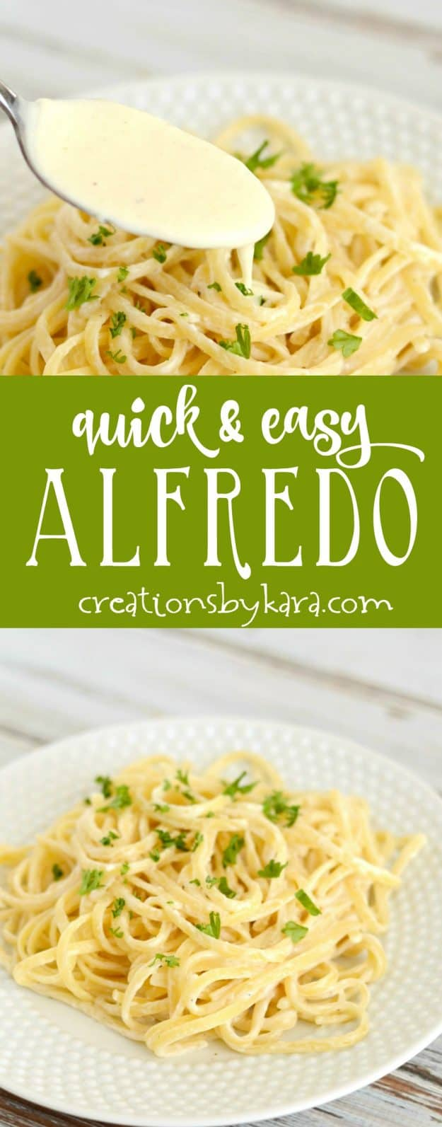 Quick and easy Alfredo Sauce. This simple alfredo sauce is a perfect last minute dinner recipe. Serve it as is, or add grilled chicken or shrimp!