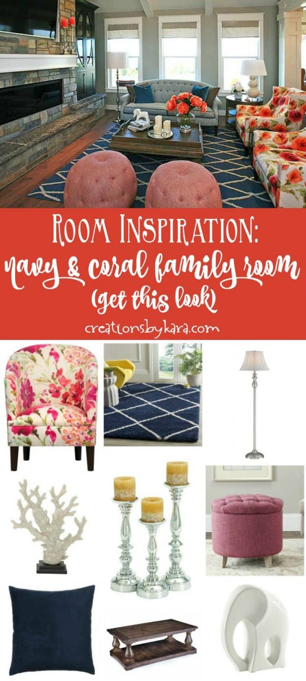 Room Inspiration - navy and coral family room - get this designer look in your own home