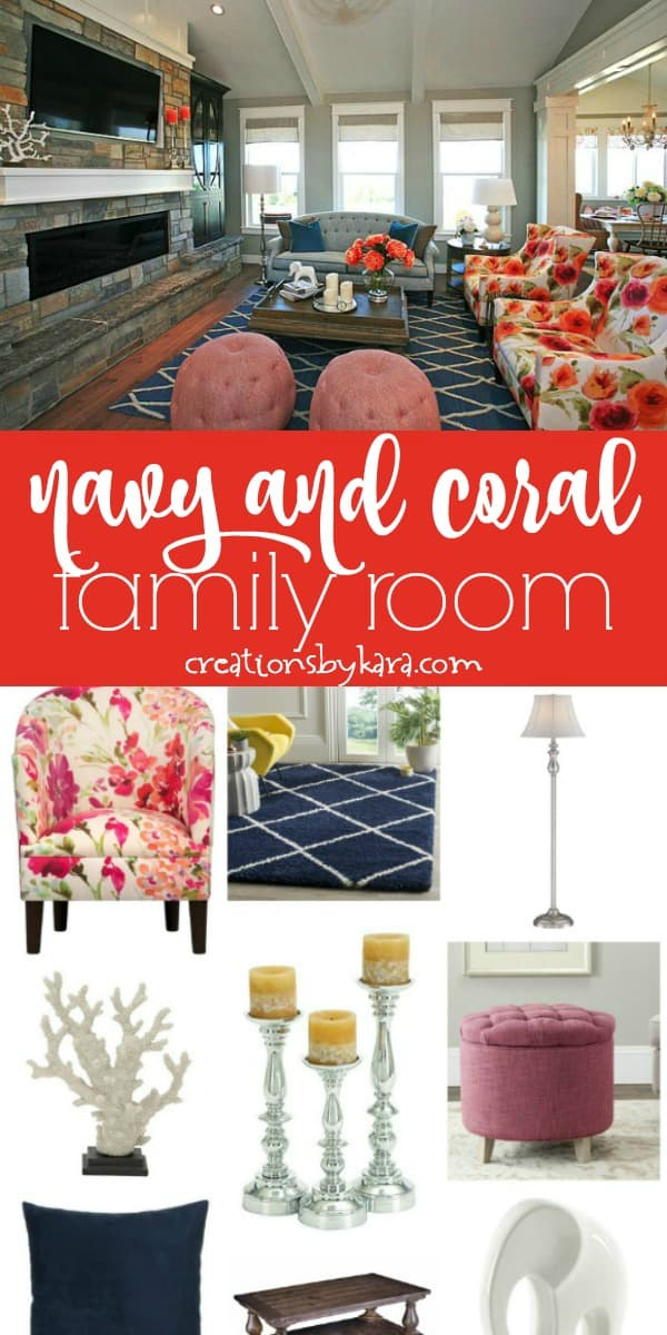 navy and coral family room inspiration board