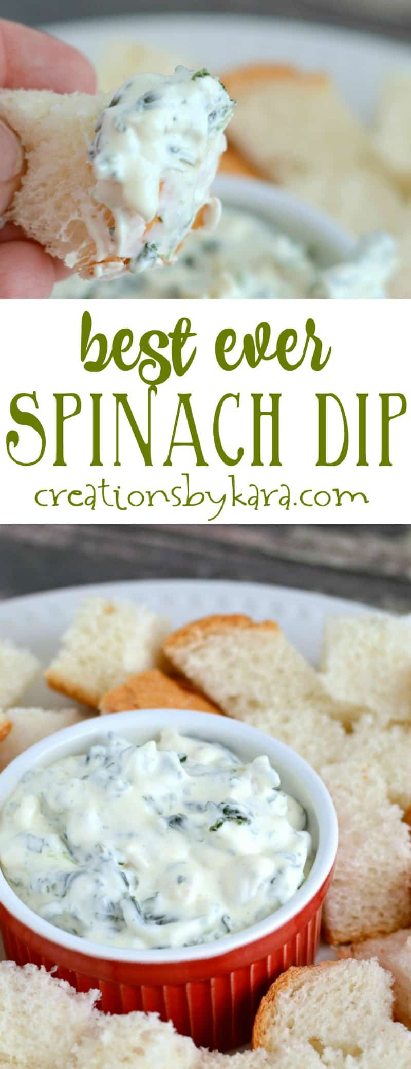 Everyone loves this creamy spinach dip. It is easy to make, and is always a hit at parties. A perfect appetizer recipe!