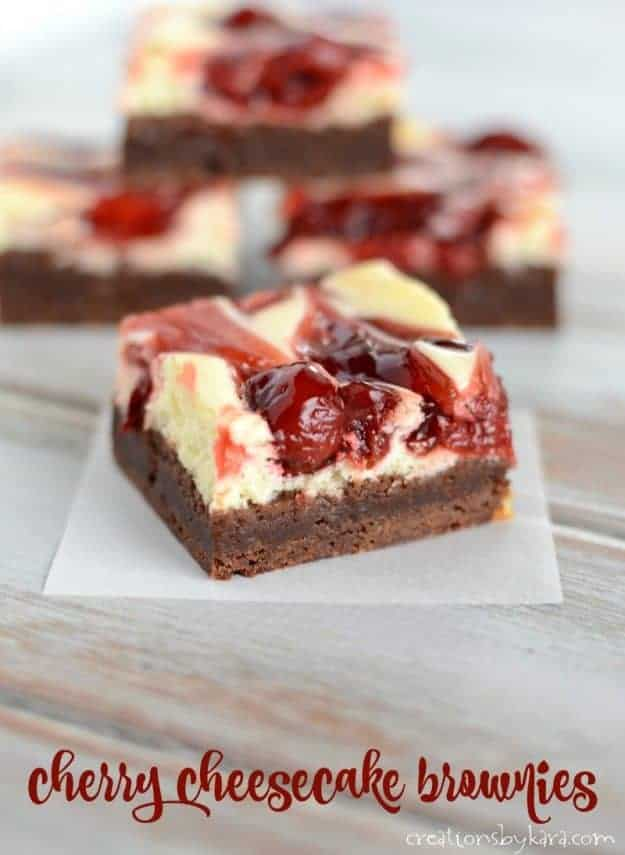 Recipe for decadent Cherry Cheesecake Brownies - a must try brownie recipe! Every bite of these brownies is amazing.