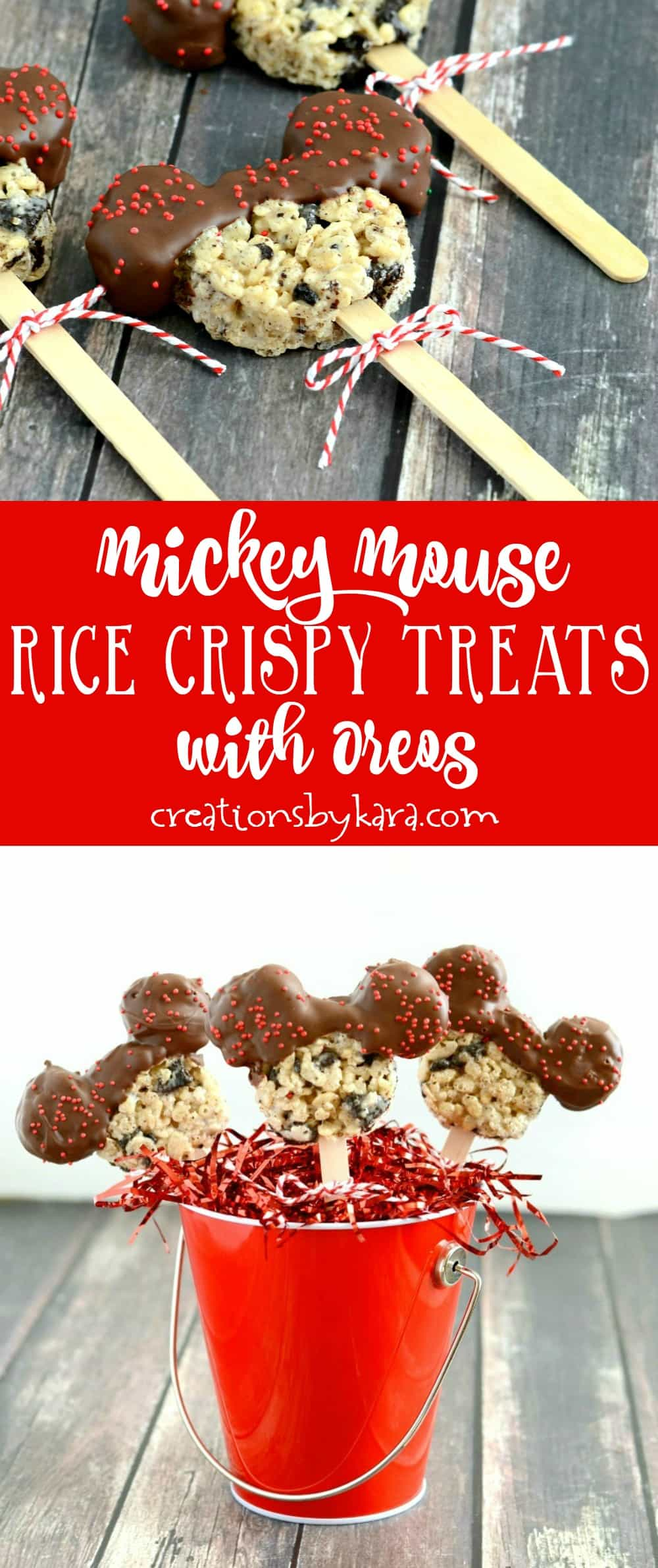 Mickey Mouse Rice Crispy Treats with Oreos - a perfect dessert for Disney fans of all ages. Easy and tasty spin on rice krispy treats!