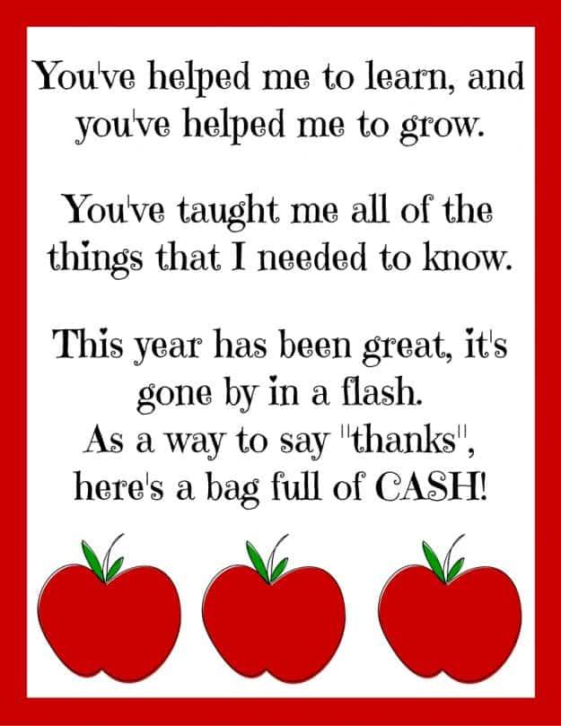 Printable poem for best teacher gift - little bundles of cash! All teachers will love this gift! Perfect for teacher appreciation.