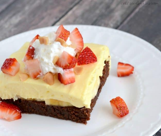 Banana Cream Brownie Squares on a plate