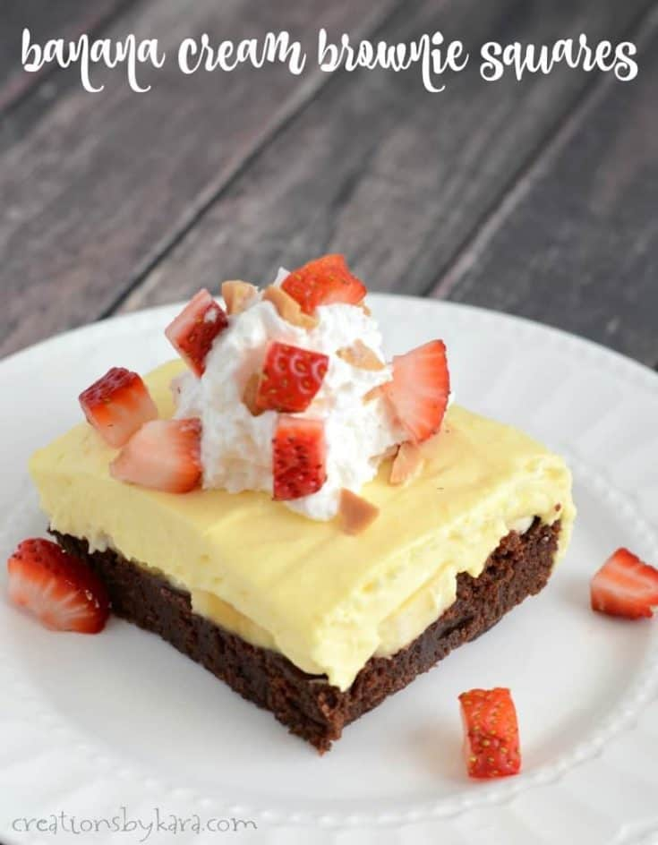 Banana Cream Brownie Squares