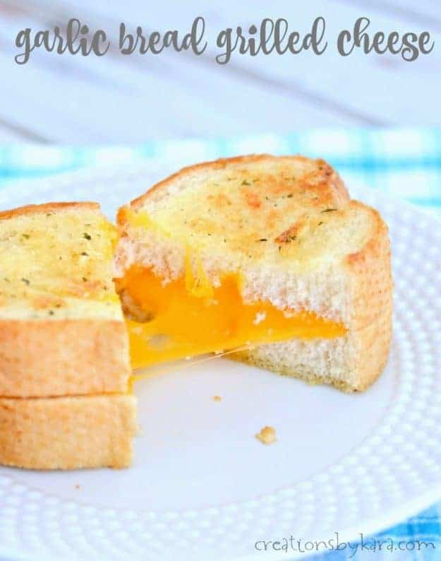 Garlic Bread Grilled Cheese Sandwiches - a tasty update on a classic lunch recipe!