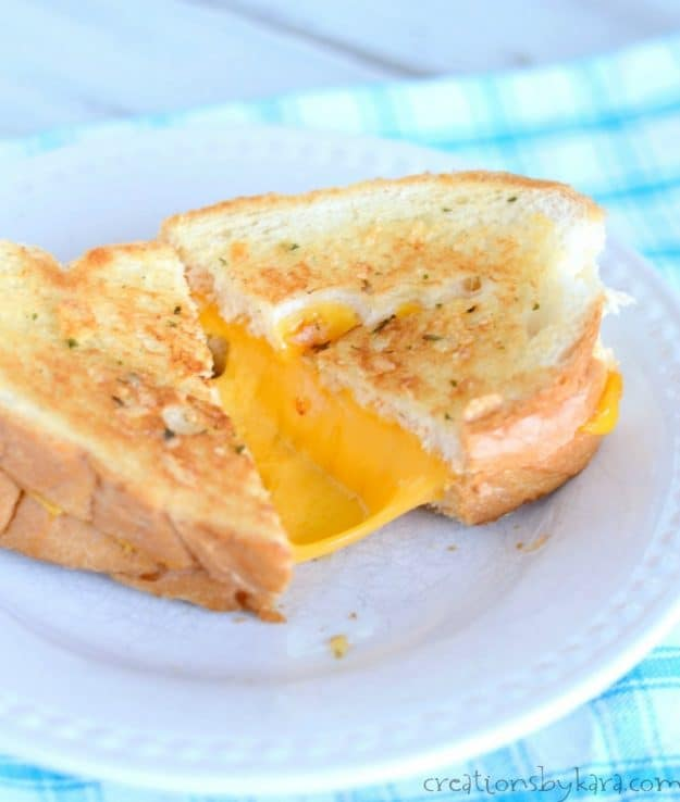 Give these garlic bread grilled cheese sandwiches a try. They are packed with flavor!