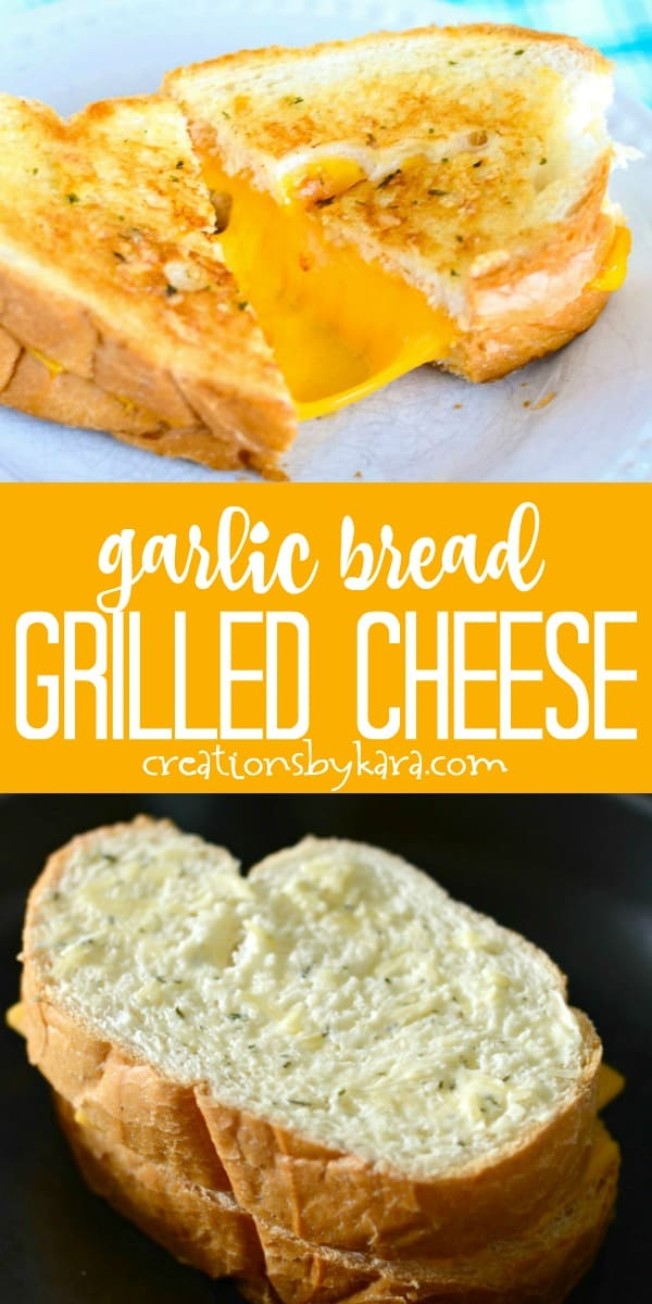 garlic bread grilled cheese recipe collage