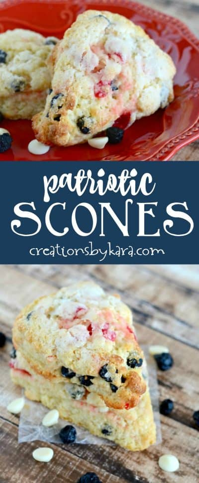 Patriotic breakfast scones - with blueberries, cherries, and white chocolate, these scones are a perfect 4th of July recipe!