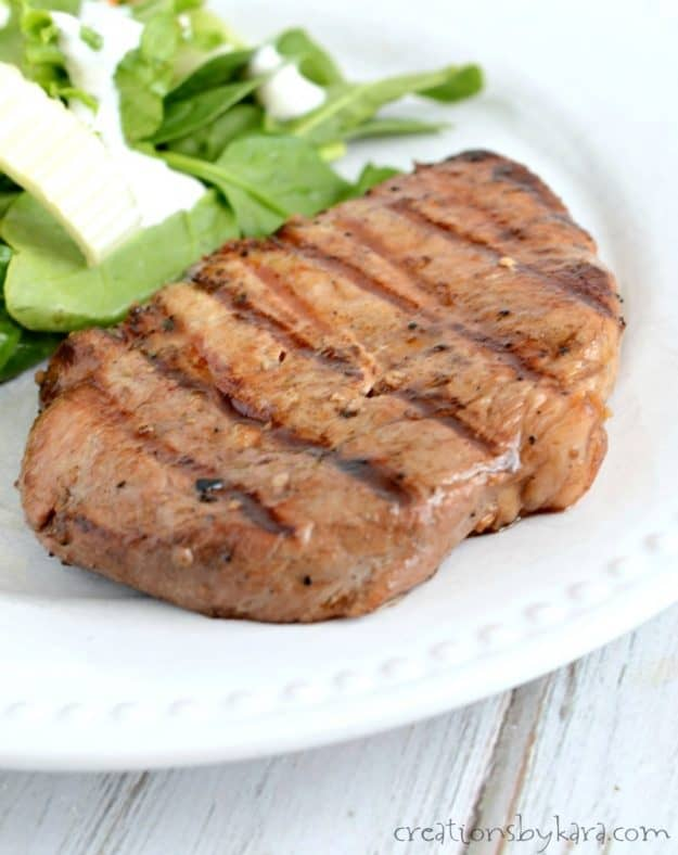 This simple marinade makes the tastiest grilled pork chops. My whole family raves about them!