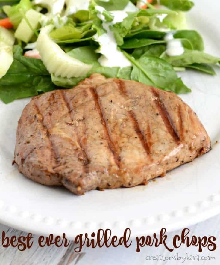 Tender grilled pork chops with a simple but delicious marinade.