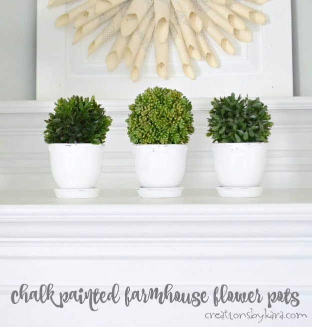 Farmhouse flower pots made easy with chalk paint. Simple farmhouse decor anyone can make.