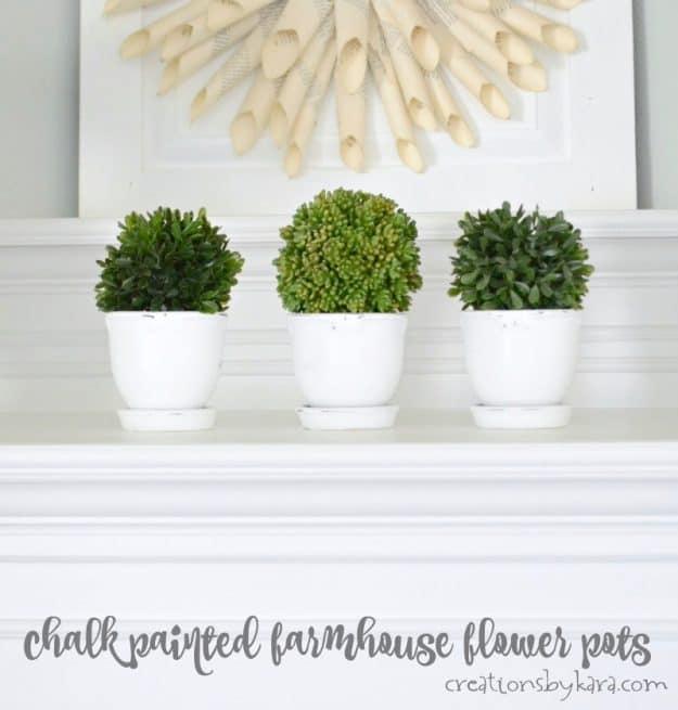 Farmhouse flower pots made easy with chalk paint. Simple farmhouse decor anyone can make.