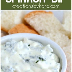 creamy spinach dip with french bread