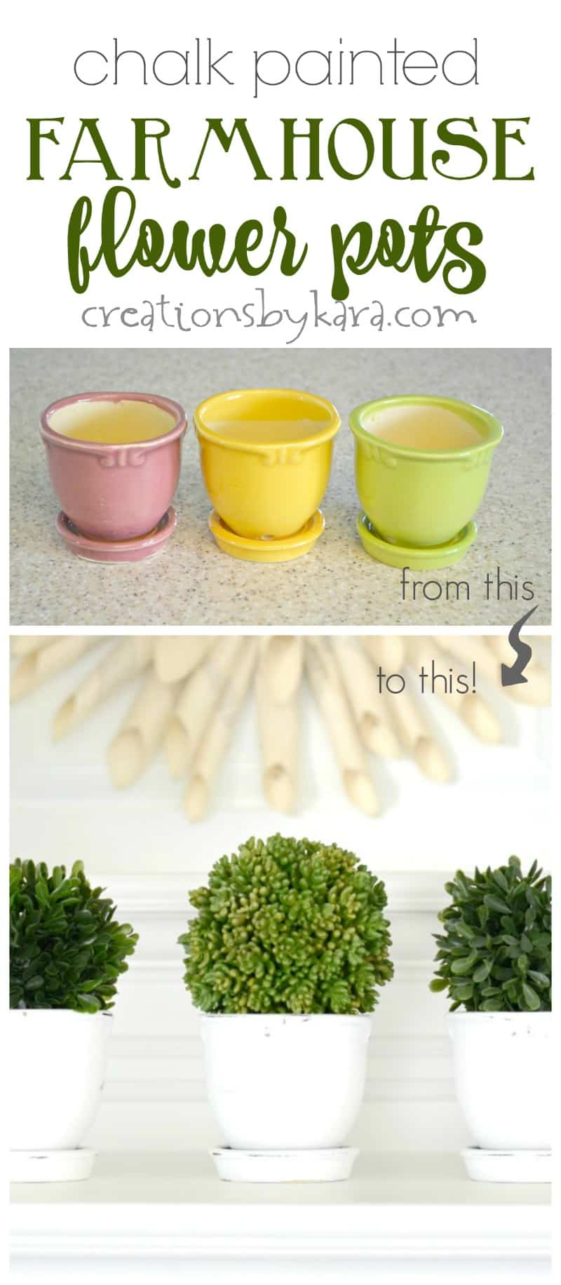 Love farmhouse style? These farmhouse flower pots are easy to make with chalk paint! An inexpensive way to add a farmhouse look.
