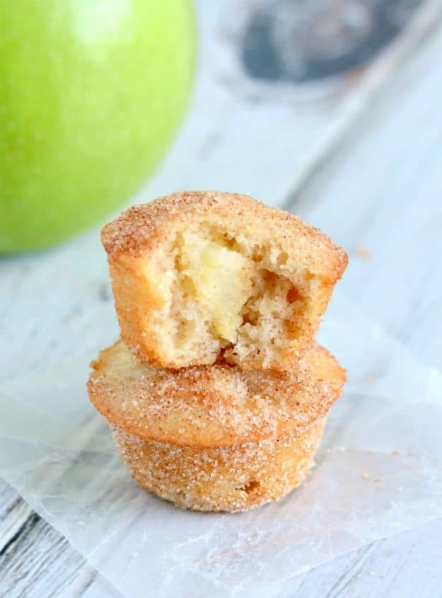 cinnamon sugar muffin with chunks of apple inside