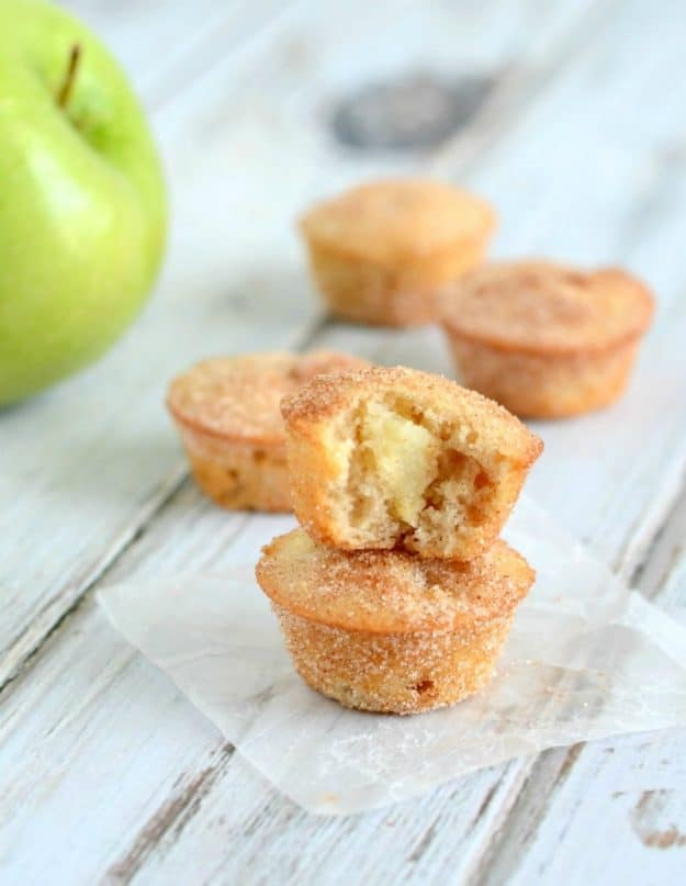 Chunks of apple in a buttery muffin coated with cinnamon sugar. A must make fall muffin recipe!