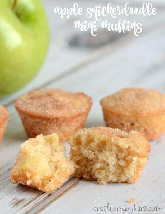 Mini Apple Snickerdoodle Muffins - loaded with chunks of apple and rolled in cinnamon sugar, these muffins are exceptional!