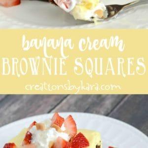 banana cream brownies recipe collage