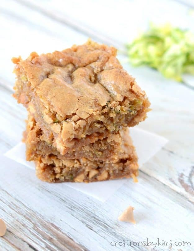 Browned butter and brown sugar make these butterscotch zucchini blondies absolutely irresistible. Everyone loves them!
