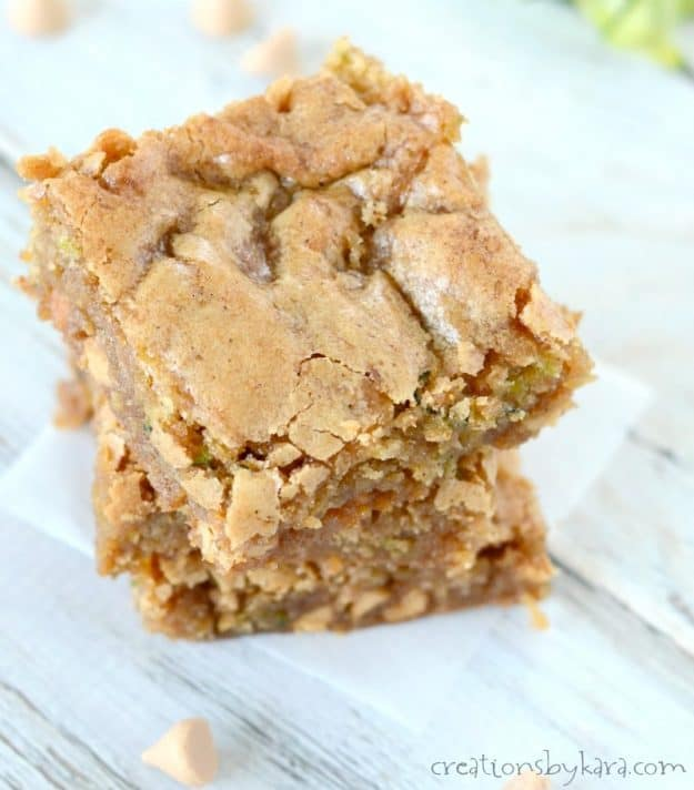 Chewy and rich, these butterscotch zucchini blondies are sure to become a favorite!