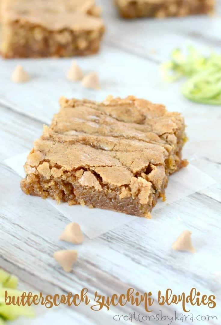 Chewy Butterscotch Zucchini Blondies
