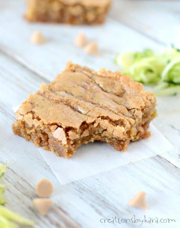 After one bite of these butterscotch zucchini blondies, you will never wonder what to do with your extra zucchini. They are incredible!