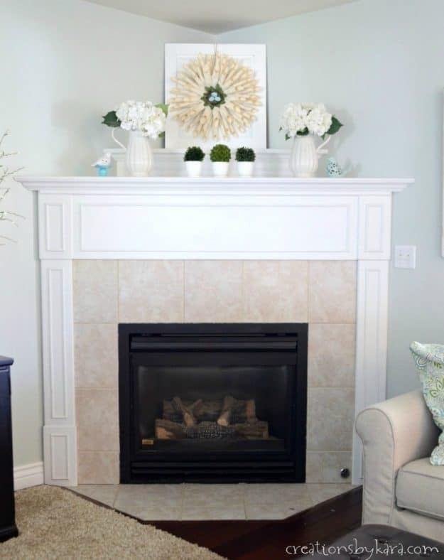 coastal fireplace in simple farmhouse family room