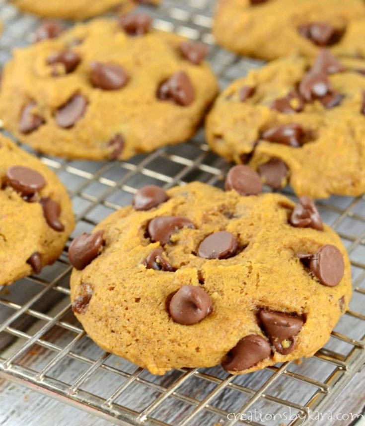 Best ever pumpkin cookies with chocolate chips. A classic fall cookie recipe.