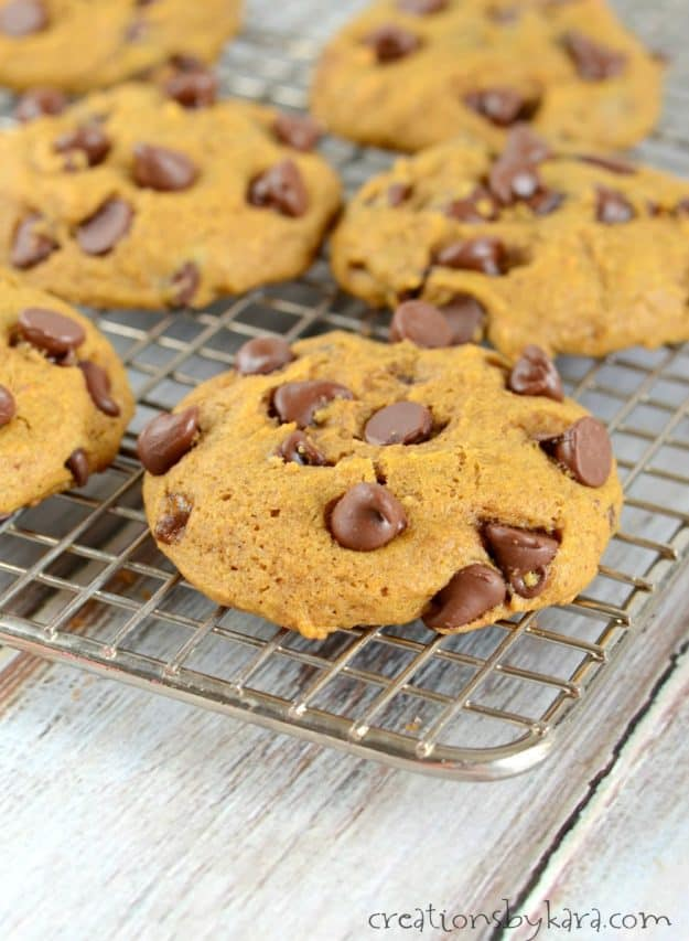 Soft and fluffy pumpkin chocolate chip cookies with just the right amount of spice. A must make fall cookie recipe!