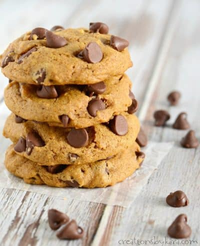 Simply amazing soft pumpkin chocolate chip cookies.