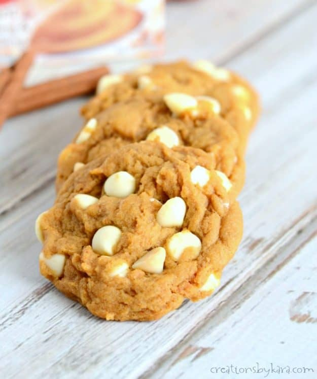 We love white chocolate with these pumpkin spice cookies, but you can use any flavor of chocolate chips. An incredible pumpkin cookie recipe!