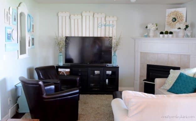 Simple coastal decor | family room reveal | cottage style | farmhouse family room ideas