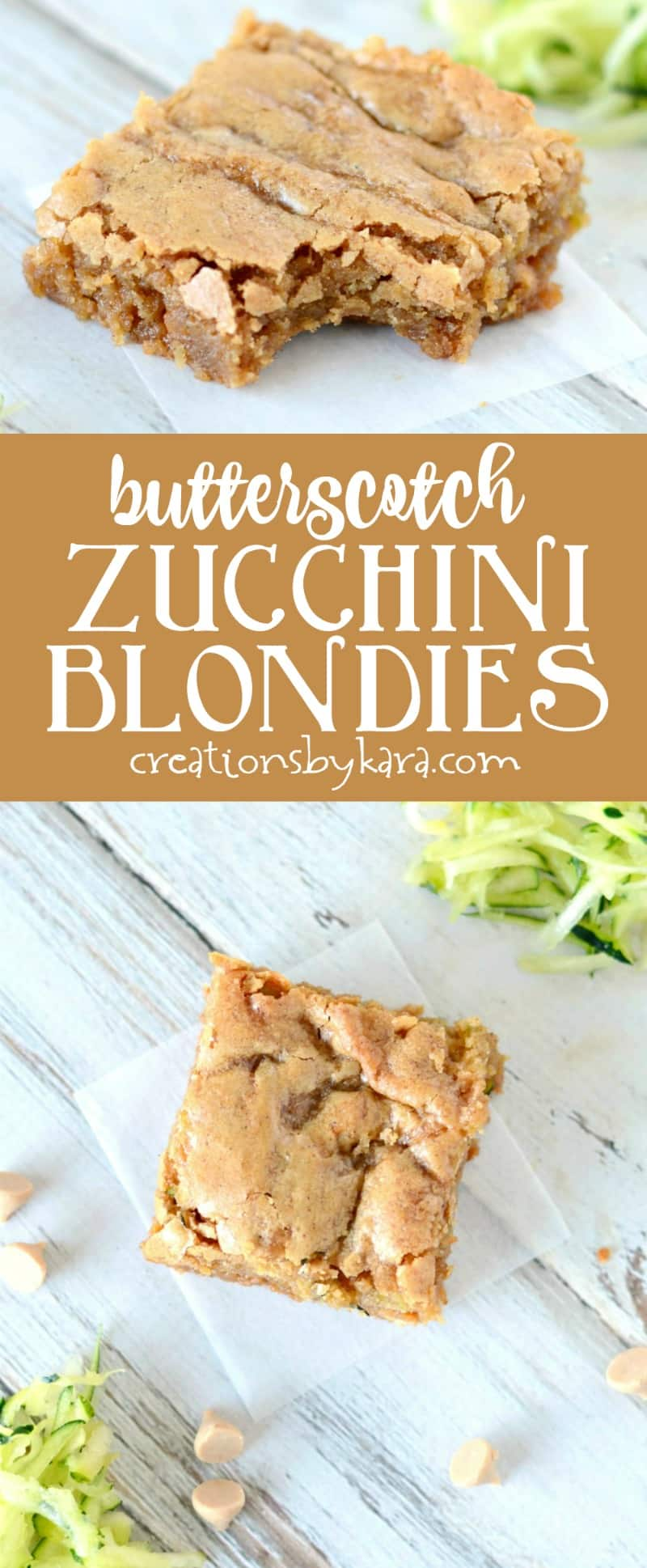 Recipe for rich and chewy butterscotch zucchini blondies. Sure to become a new favorite zucchini recipe! Browned butter makes these bars extra tasty!