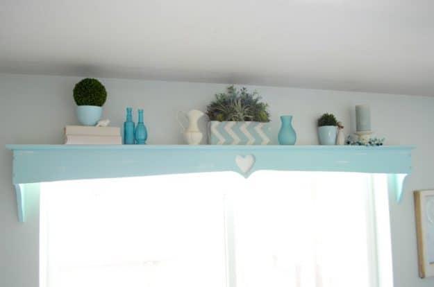 Aqua farmhouse shelf makeover