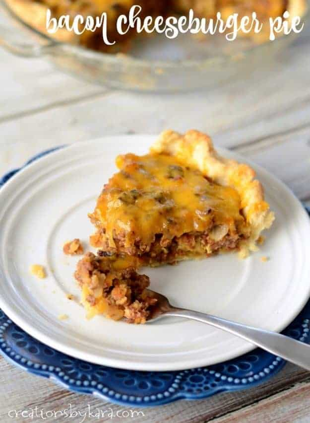 Bacon Cheeseburger Pie - the flavors of your favorite burger in a flaky pie crust. A perfect family dinner recipe.
