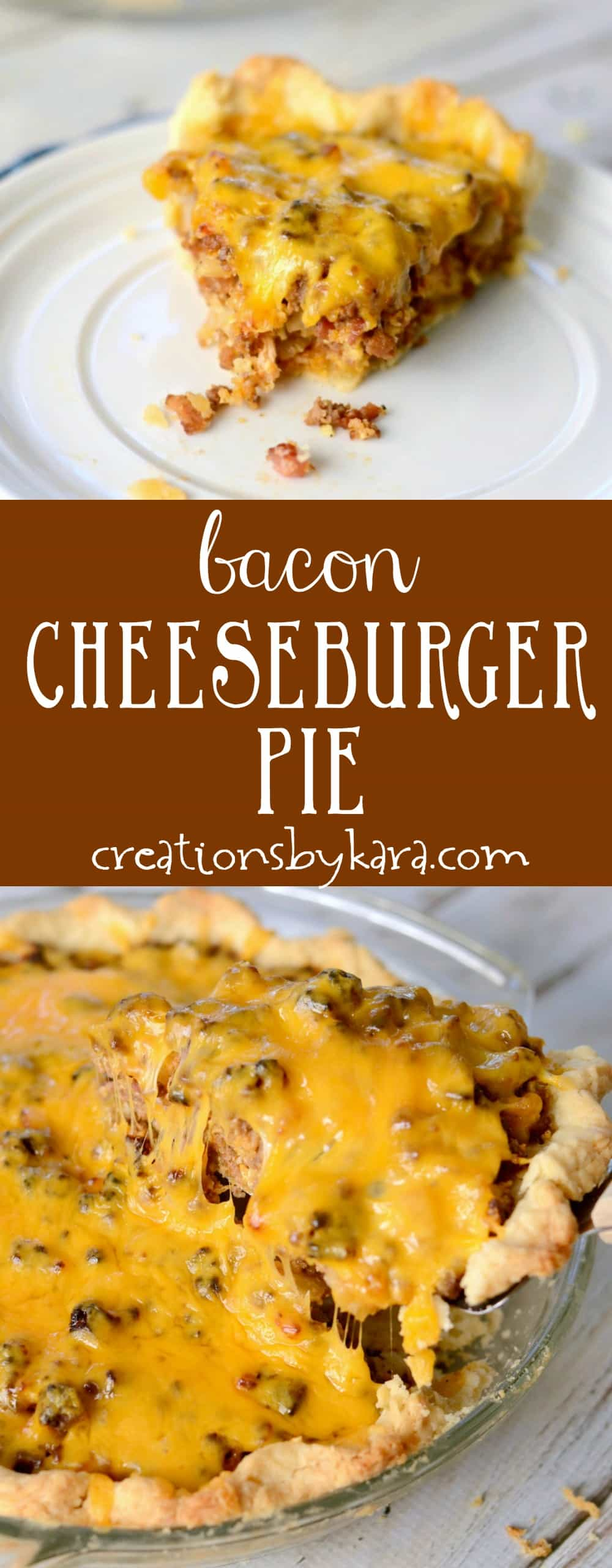 Bacon Cheeseburger Pie - a hearty meat pie filled with beef and bacon, topped with melted cheese. A perfect family dinner recipe!