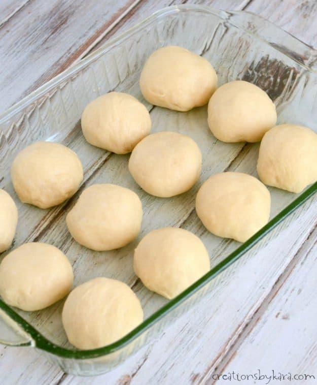 pan of roll dough