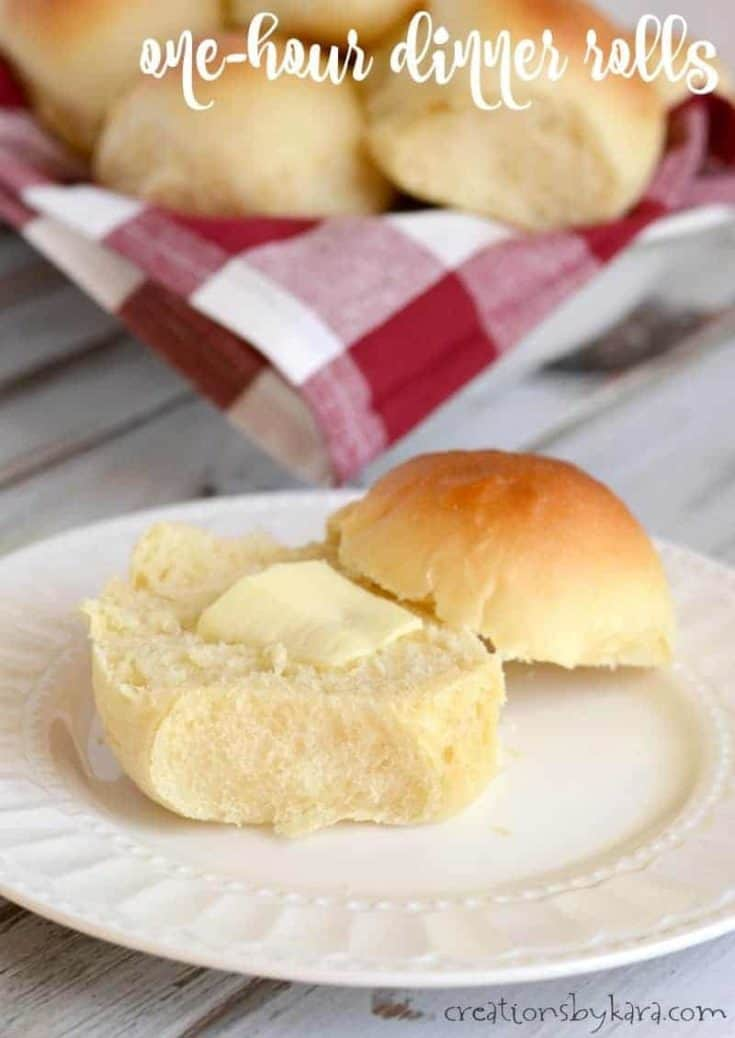 One hour yeast rolls. You can have light and fluffy dinner rolls in about sixty minutes with this recipe.