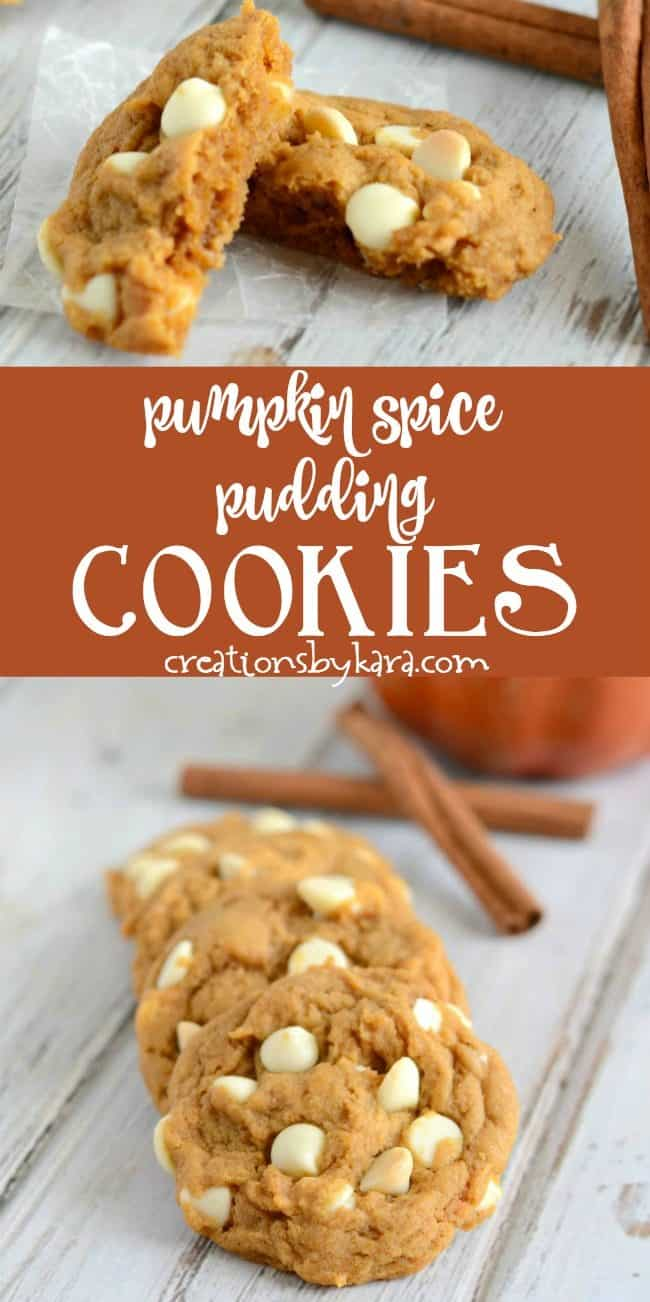 pumpkin spice pudding cookies with white chocolate chips recipe collage