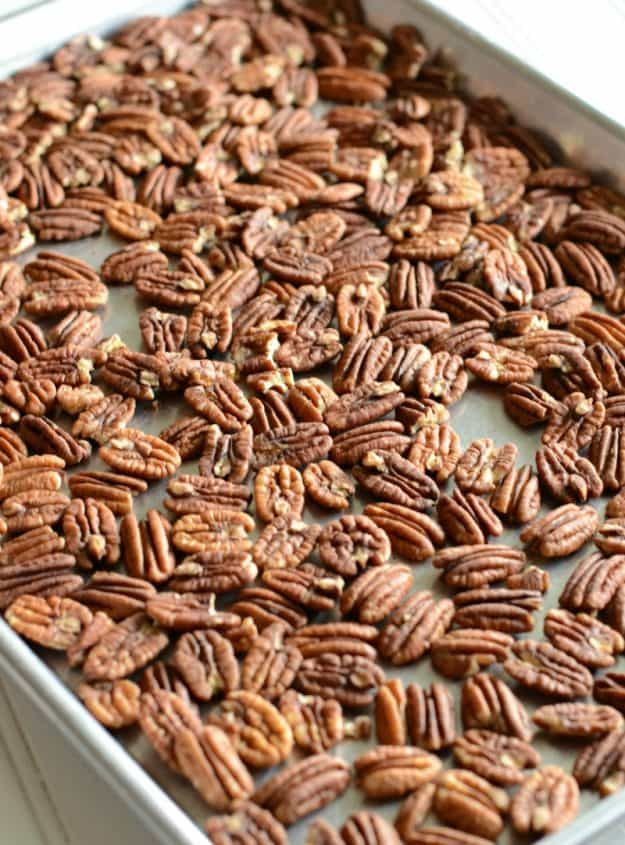 Toasted pecans for turtle candies