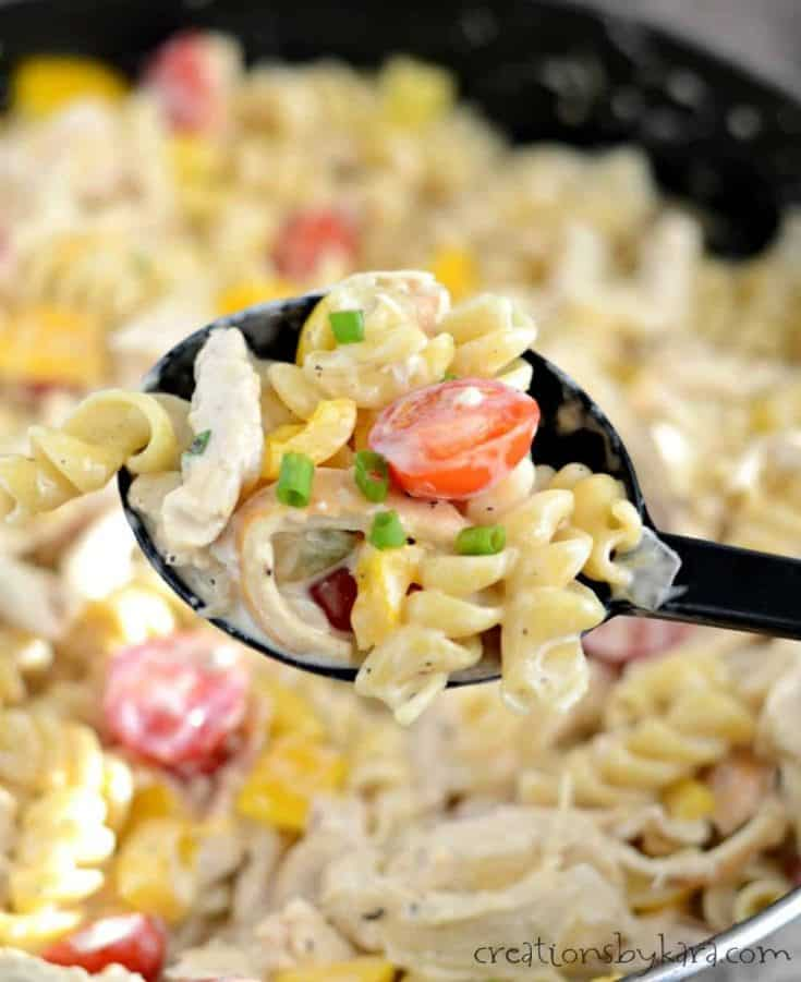 You are going to love the robust flavor of this Creamy Cajun Chicken Pasta. It's loaded with chicken and veggies, and it's a cinch to make!