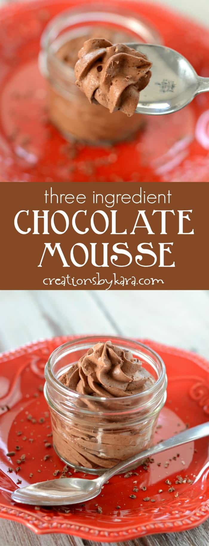 Three ingredient Chocolate Mousse - rich, creamy, and decadent. A simple but impressive chocolate dessert.